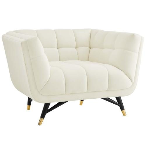 Adept Performance Velvet Armchair in Ivory