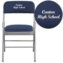 Embroidered HERCULES Series Triple Braced Navy Patterned Fabric Upholstered Metal Folding Chair