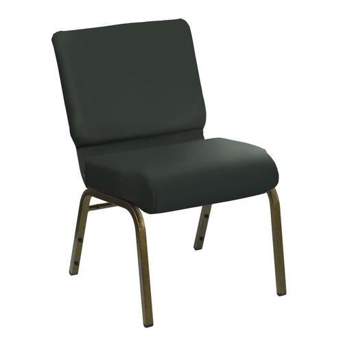 HERCULES Series 21''W Church Chair in E-Z Sierra Grey Vinyl - Gold Vein Frame