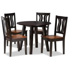 See Details - Baxton Studio Anesa Modern and Contemporary Transitional Two-Tone Dark Brown and Walnut Brown Finished Wood 5-Piece Dining Set