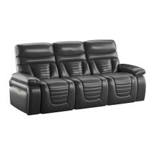 Power Sofa W/power Headrest- Drop Down Table W Cupholders and LED Lights-black