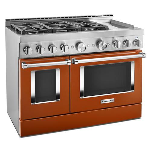 KitchenAid® 48'' Smart Commercial-Style Gas Range with Griddle - Scorched Orange