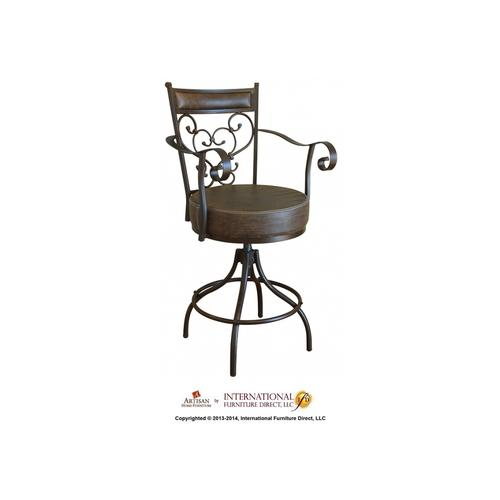 "24-30"" Adjustable Height barstool w/Arms & Faux Leather seat"