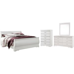 King Sleigh Bed With Mirrored Dresser and Chest