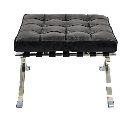 Barca PU Ottoman Stainless Steel Frame, Distressed Black