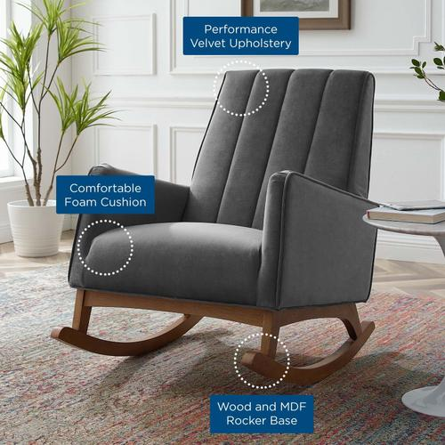 Modway - Sway Performance Velvet Rocking Chair in Gray
