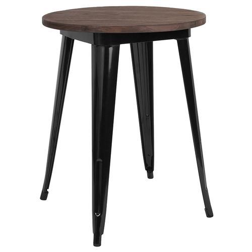 "24"" Round Black Metal Indoor Table with Walnut Rustic Wood Top"