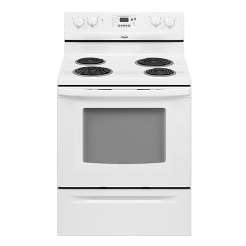 """Product Image - Refurbished White-on-White Whirlpool® 30"""" Self-Cleaning Freestanding Electric High-Speed Coil Range. (This is a Stock Photo, actual unit (s) appearance may contain cosmetic blemishes.  Please call store if you would like actual pictures).  This unit carries our 6 month warranty, MANUFACTURER WARRANTY and REBATE NOT VALID with this item. ISI 44712"""