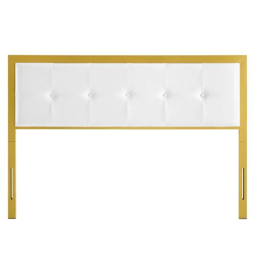 Modway - Teagan Tufted Queen Performance Velvet Headboard in Gold White
