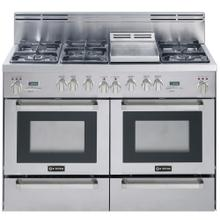 "Stainless Steel 48"" Self Clean Dual Fuel Convection Range with Double Ovens Warming Drawers"