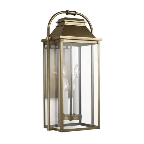 Wellsworth Large Lantern Painted Distressed Brass