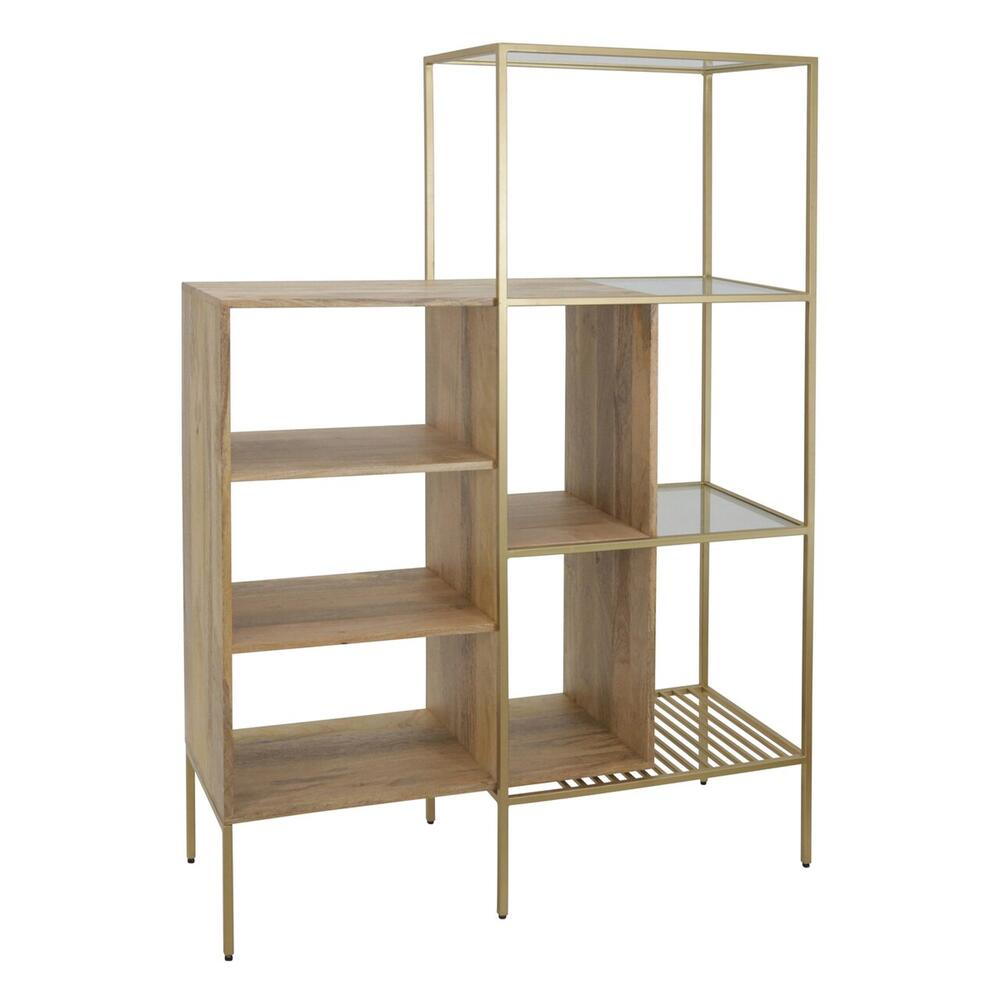 "Mango Wood 61""h Bookshelf, Brown/gold"