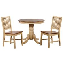 See Details - Brook Round Dining Set w/Slat Back Chairs (3 piece)