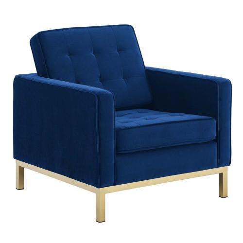 Loft Gold Stainless Steel Leg Performance Velvet Armchair Set of 2 in Gold Navy