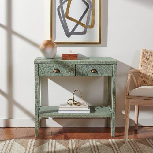 Safavieh - Asa 2 Drawer 1 Shelf Console Table - Turquoise / Antique Gold
