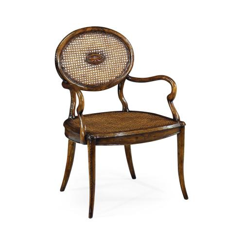 French caned chair with oval back (Arm)
