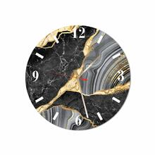 Black-gold Marble Round Acrylic Wall Clock