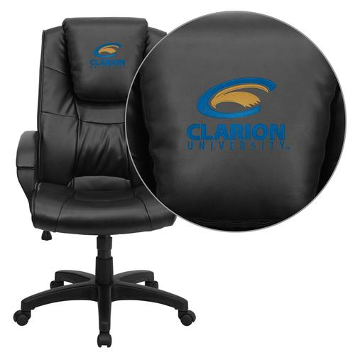 Clarion University of Pennsylvania Golden Eagles Embroidered Black Leather Executive Office Chair