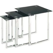 Nesting Table Set of 3pcs, Chrome/tempered Black Glass Top