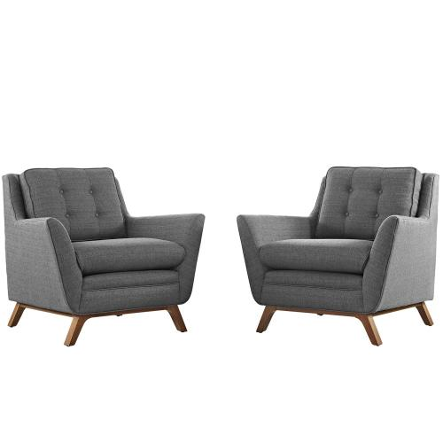 Beguile 2 Piece Upholstered Fabric Living Room Set in Gray