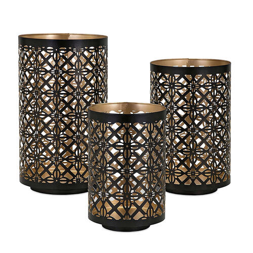 A & B Home - S/3 Helena Pierced Lanterns