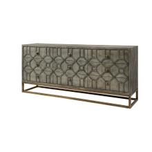 Genevieve II 70x15.8 Gray Solid Wood Frame Gold Metal Base 9 Drawer Sideboard
