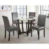 Verano 5 Piece Set(Glass Top Table & 4 Grey Side Chairs)