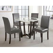 View Product - Verano 5 Piece Set(Glass Top Table & 4 Grey Side Chairs)