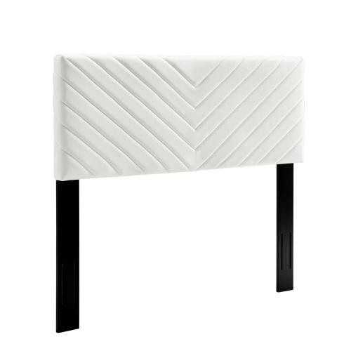 Alyson Angular Channel Tufted Performance Velvet Full / Queen Headboard in White