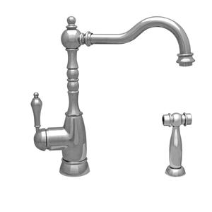 Englishhaus single lever faucet with a traditional swivel spout, lever handles, and a solid brass side spray. Product Image