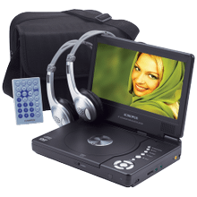 8 inch portable DVD player with car headrest mounting and cabling kit