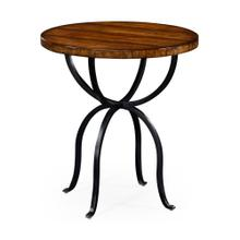 Walnut bistro style panelled round side table