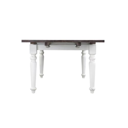"""Emerald Home Mountain Retreat Extension Dining Table W/2 20"""" Leaves Top:brn Base:white D601-10-09"""