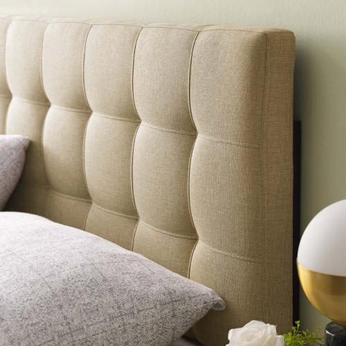 Lily Queen Upholstered Fabric Headboard in Beige