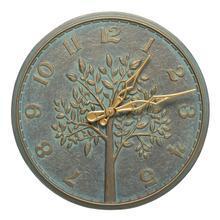 """Product Image - Tree of Life 16"""" Indoor Outdoor Wall Clock - Bronze Verdigris"""