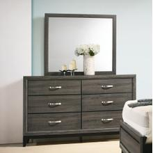 Stout Metal Bar Pulls Distressed Dresser and Mirror