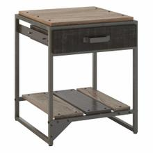 See Details - End Table with Drawer, Rustic Gray/Charred Wood