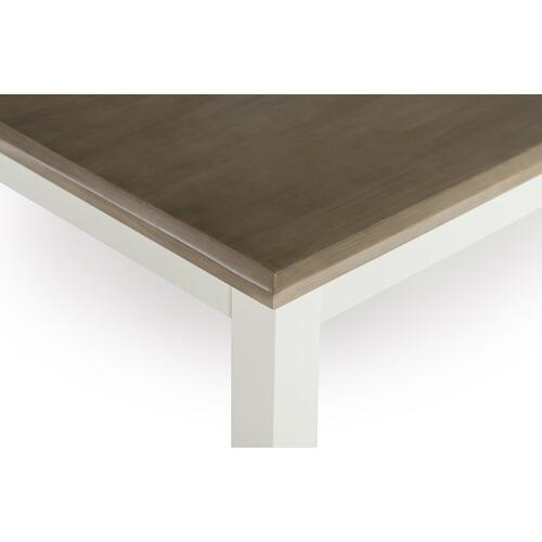 Rectangular Dining Table, White and Taupe