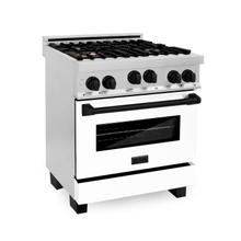"""See Details - ZLINE Autograph Edition 30"""" 4.0 cu. ft. Range with Gas Stove and Gas Oven in Stainless Steel with White Matte Door and Accents (RGZ-WM-30) [Color: Matte Black]"""