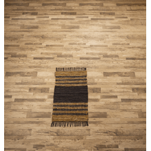 See Details - Black & Brown Striped Leather Chindi 2x3 Rug (Each One Will Vary)