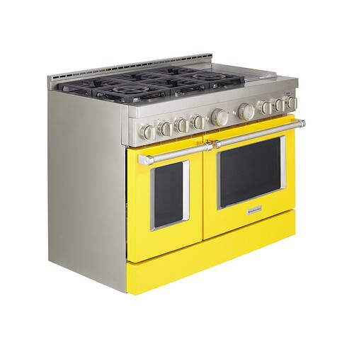 KitchenAid® 48'' Smart Commercial-Style Gas Range with Griddle - Yellow Pepper