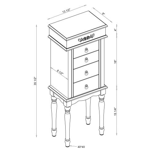 4-drawer and 2 Side Doors Jewelry Armoire, White