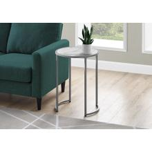 """ACCENT TABLE - 24""""H / WHITE MARBLE-LOOK / SILVER METAL"""