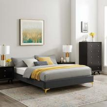 Sutton Full Performance Velvet Bed Frame in Charcoal