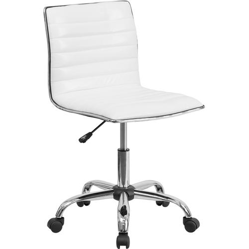 Gallery - Low Back Designer Armless White Ribbed Swivel Task Office Chair