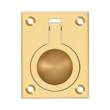 "Flush Ring Pull, 2-1/2"" x 1-7/8"" - PVD Polished Brass"