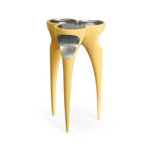 Trefoil Peking Yellow & Silver Cut-Out Occasional Table