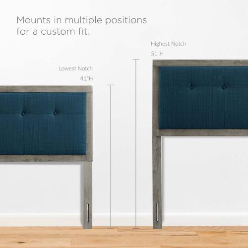 Draper Tufted Twin Fabric and Wood Headboard in Gray Azure