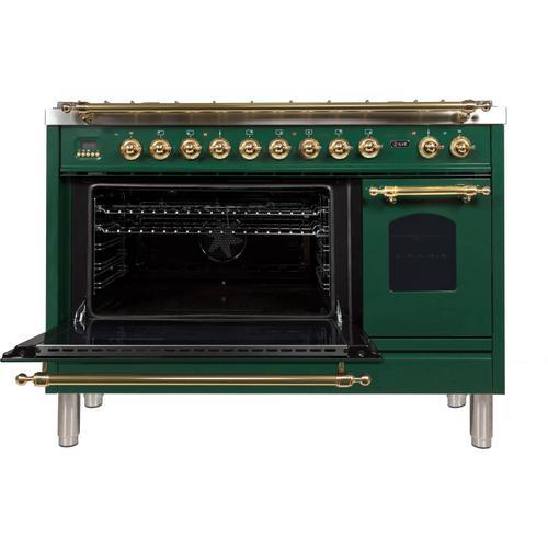 Nostalgie 48 Inch Dual Fuel Liquid Propane Freestanding Range in Emerald Green with Brass Trim
