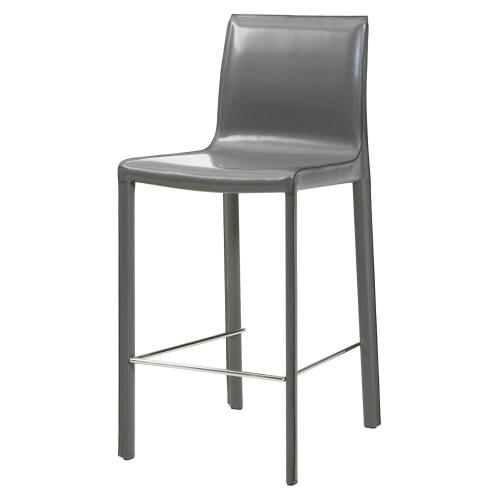 Gervin Recycled Leather Counter Stool, Anthracite